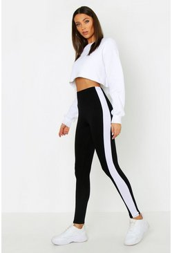 Black Tall Side Stripe Leggings