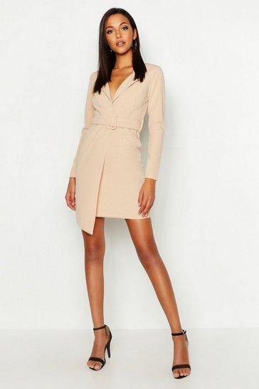 Stone beige Tall Self Fabric Belted Blazer Dress