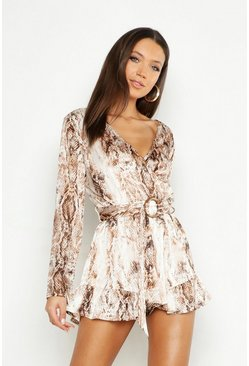Tall Snake Print Tortoise Shell Buckle Playsuit, Camel beige