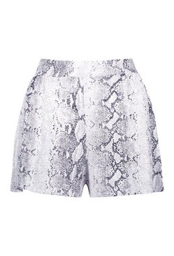 Grey Tall Snake Print Flippy Shorts