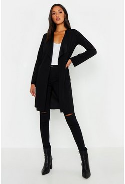 Black Tall Short Waterfall Duster