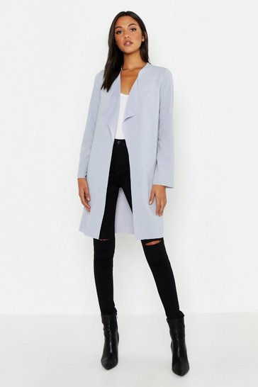 Grey Tall Short Waterfall Duster