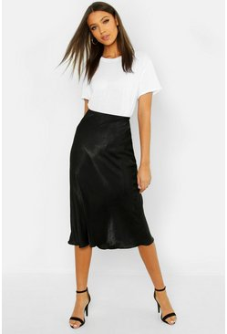 Black Tall Bias Cut Satin Midi Skirt