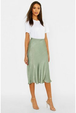 Sage green Tall Bias Cut Satin Midi Skirt