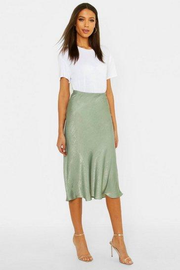 Sage green Tall Bias Cut Satin Midi Skirt