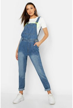 Mid blue blue Tall Pocket Front Dungaree