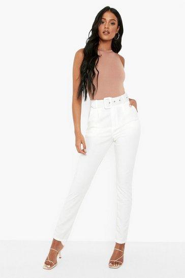 White Tall Self Belt Tailored Trouser
