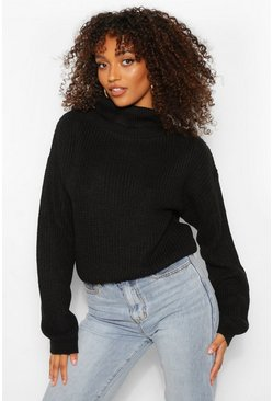 Black Tall Roll Neck Crop Jumper