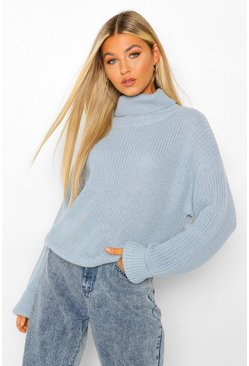 Denim blue Tall Roll Neck Crop Jumper