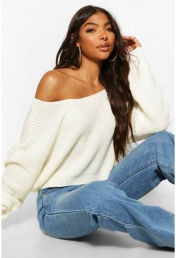 Cream white Tall V Back Crop Sweater