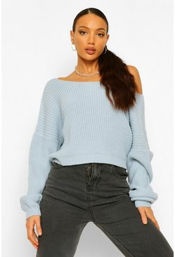 Sky blue Tall V Back Crop Jumper