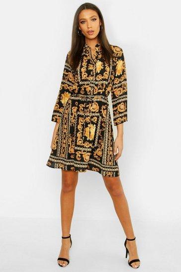 Black Tall Chain Print Shirt Dress