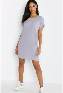 Grey Tall Rib Oversized T-Shirt Dress