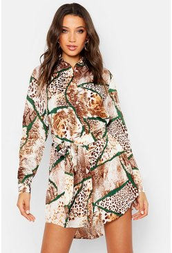 Camel Tall Mixed Animal Print Shirt Dress