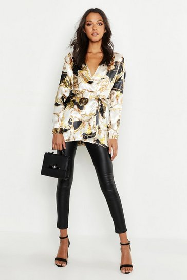 Ivory white Tall Satin Chain Print Wrap Shirt