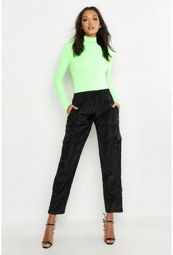 Neon_lime neon Tall Neon Rib Roll Neck Top