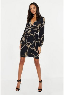 Black Tall Chain Mixed Print Wrap Midi Dress