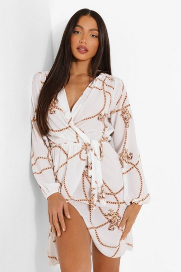 White Tall Chain Mixed Print Wrap Midi Dress