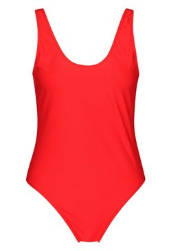 Red Tall Basic Scoop Swimsuit