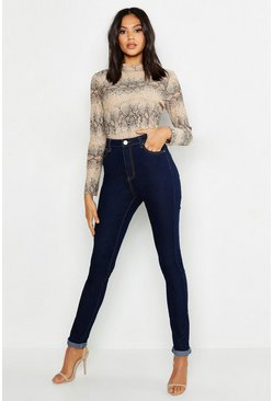 "Dark blue Tall High Waist Skinny Jean 35"""" Leg"