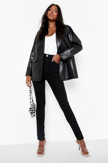 """Black Tall High Waist Skinny Jean 35"""""""" Leg"""