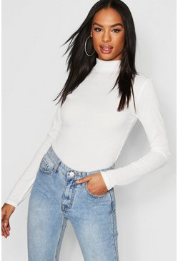 Ivory white Tall Rib High Neck Top