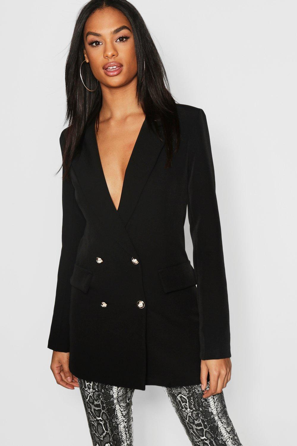 Tall Clothing Black Tall Button Detail Tailored Blazer
