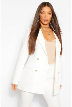 Cream white Tall Button Detail Tailored Blazer