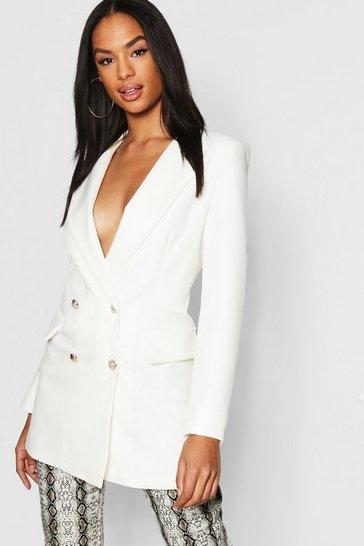 Ivory white White Tall Button Detail Tailored Blazer