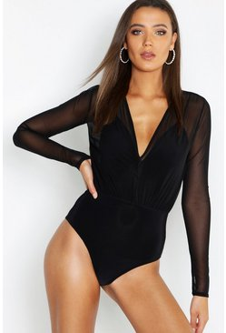 Black Tall Mesh 2 in 1 Bodysuit