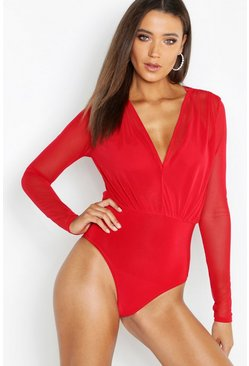Red Tall Mesh 2 in 1 Bodysuit