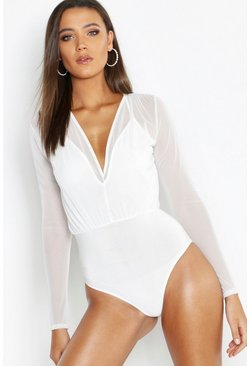 White Tall Mesh 2 in 1 Bodysuit