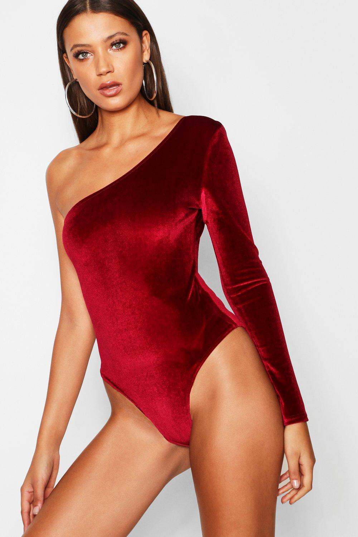Tall One Shoulder Velvet Bodysuit | Boohoo UK