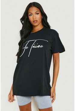 "Black svart Tall - ""Je t'aime"" t-shirt med slogan"