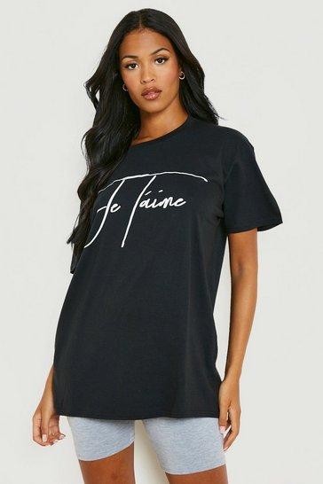 Black Tall 'Je T'Aime' Slogan T-Shirt