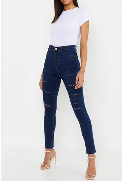 Dark blue blue Tall Slash Rip Jeggings