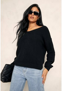 Black Tall Twist Back Jumper