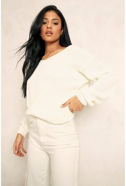 Cream white Tall Twist Back Sweater