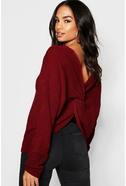 Wine red Tall Twist Back Sweater