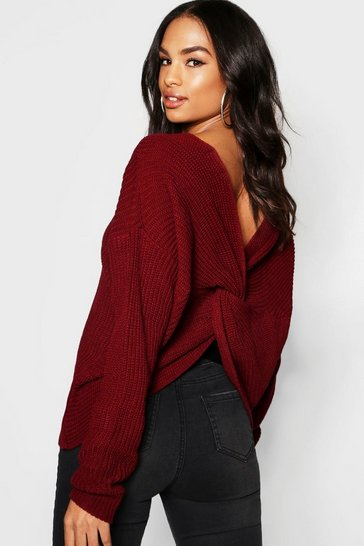 Wine red Tall Twist Back Jumper