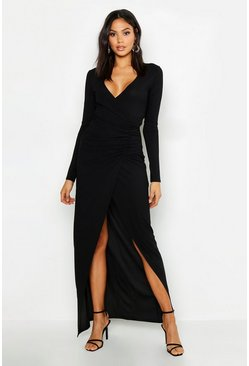 Black Tall Plunge Ruched Detail Maxi Dress