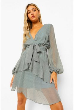 Green Tall Ruffle Hem Chiffon Mini Dress