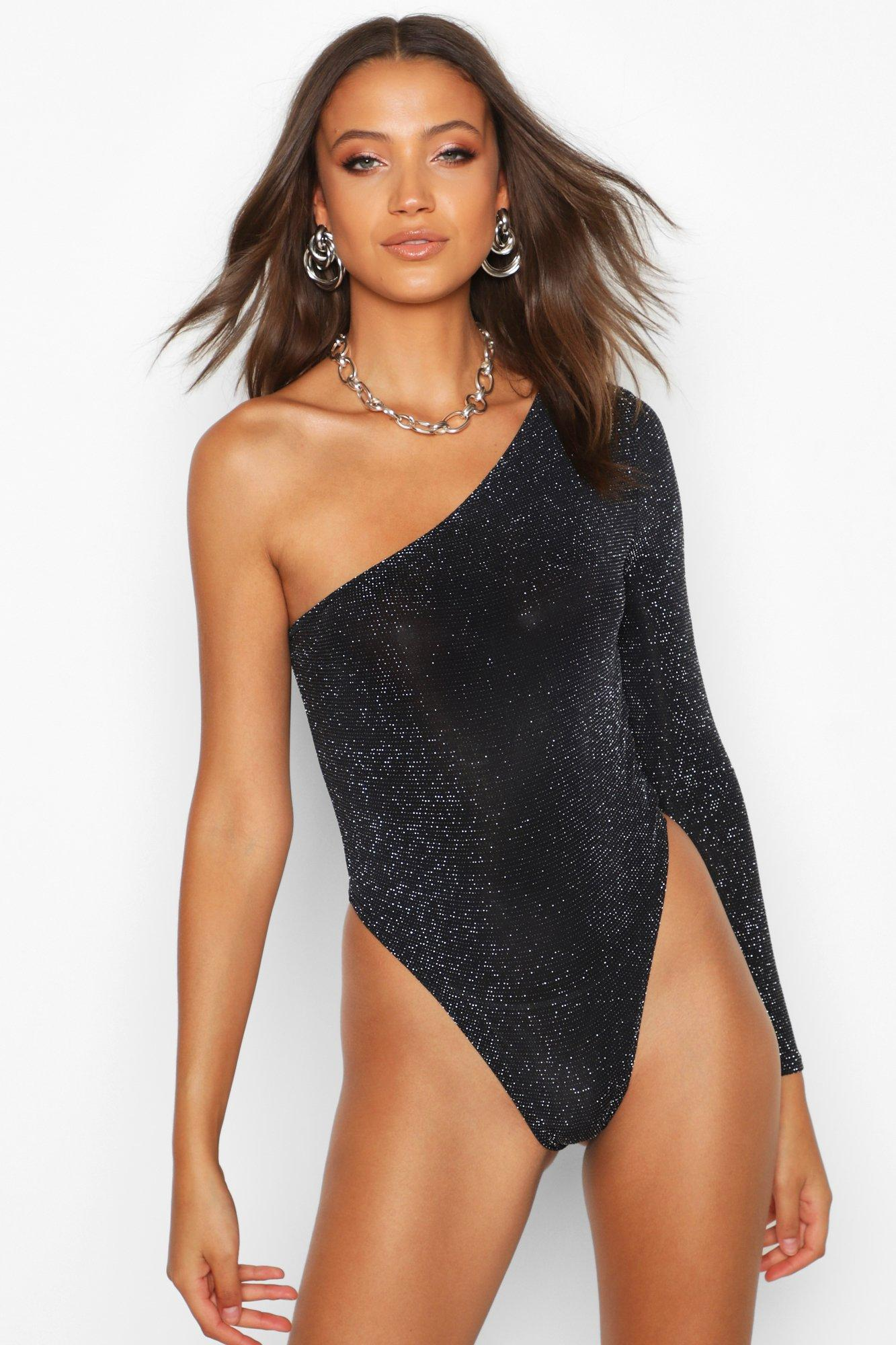 Tall One Shoulder Shimmer Bodysuit | Boohoo UK