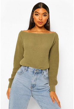 Khaki Tall Slash Neck Crop Fisherman Jumper