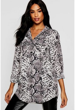 Grey Tall Snake Print Oversized Shirt