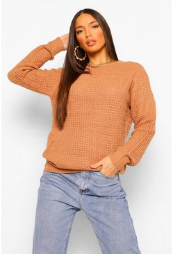 Tan brown Tall Waffle Knit Sweater
