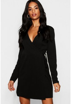 Black Tall Wrap Skater Dress