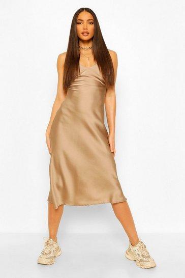 Beige Tall Satin Slip Dress