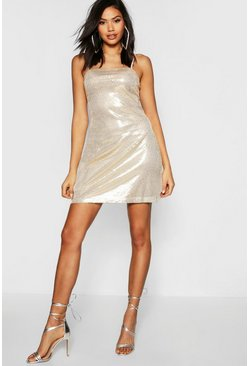 Gold metallic Tall Sequin Square Neck Mini Bodycon Dress