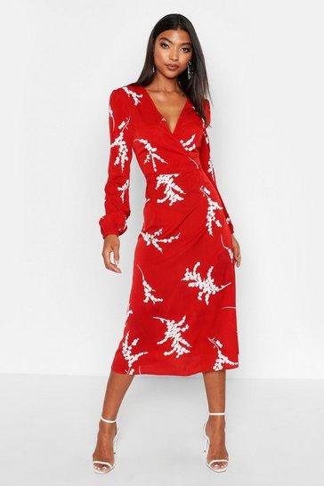 Berry red Tall Floral Print Wrap Midi Dress